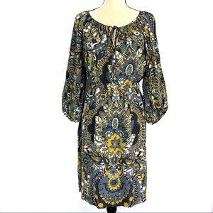Trina Turk 100% Silk Blue & Yellow Floral Dress